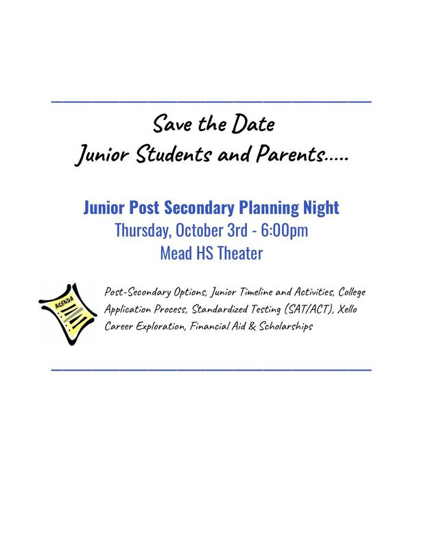 Flyer promoting Junior Post Secondary Night on Thursday, October 3rd at 6:00 PM in the Mead Theater.