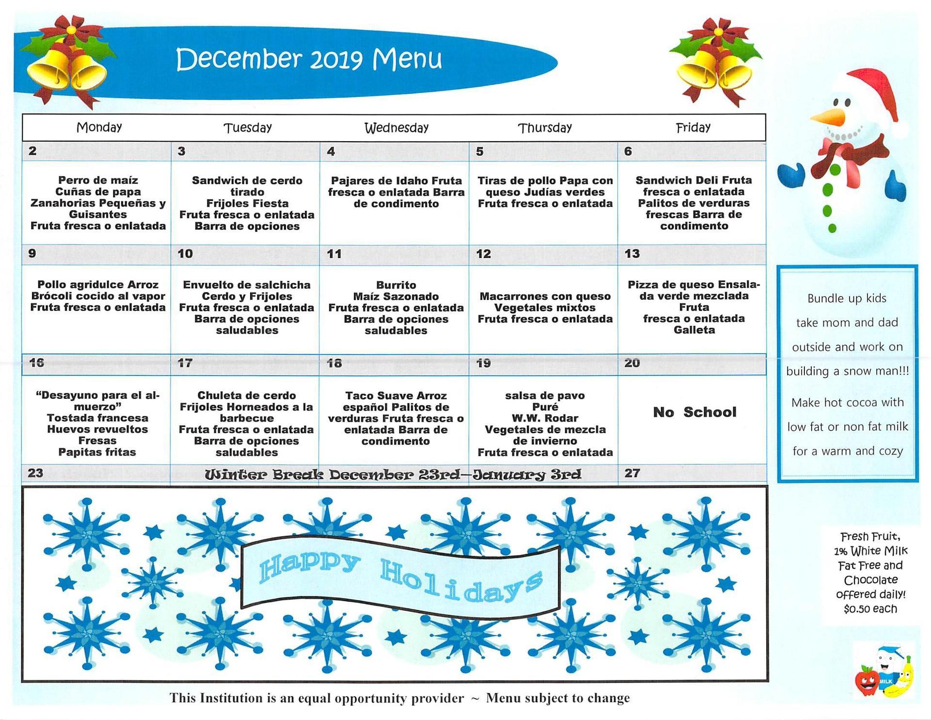 December 2019 Elementary Lunch Menu Spanish