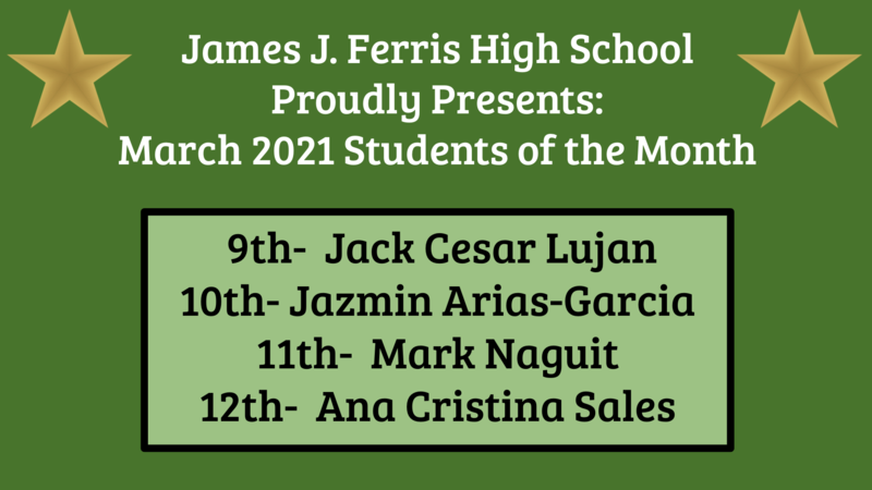 March 2021 Students of the Month