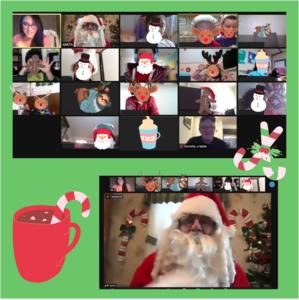 Zoom class with Santa and Santa zoom spotlight