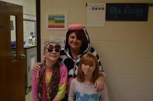 Students and staff member dressed for book character day.