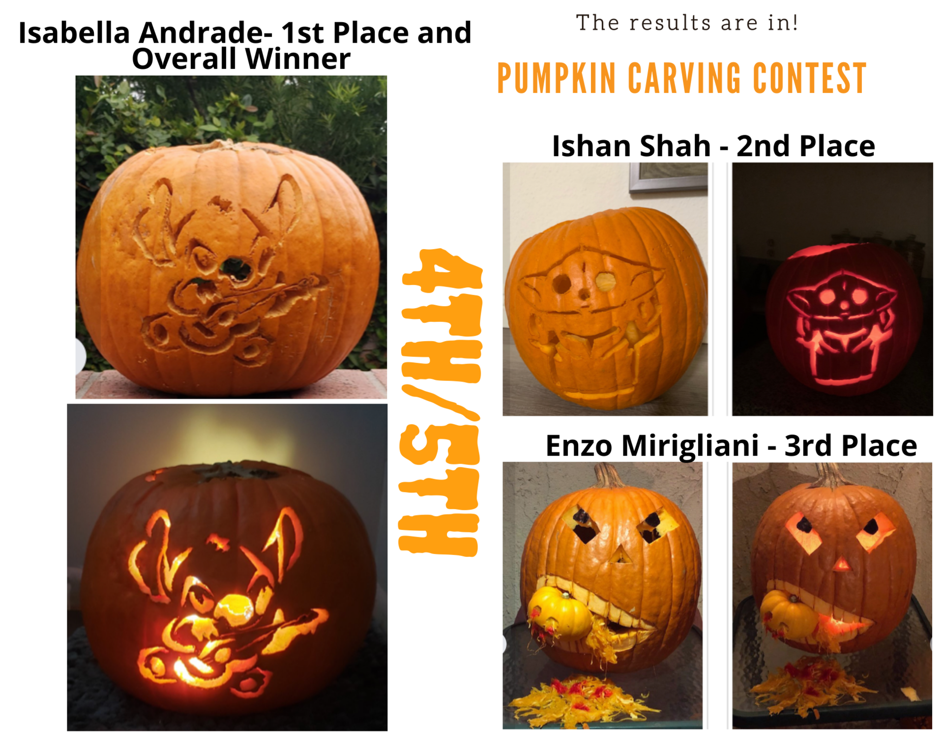 Pumpkin Carving Winners 4th 5th