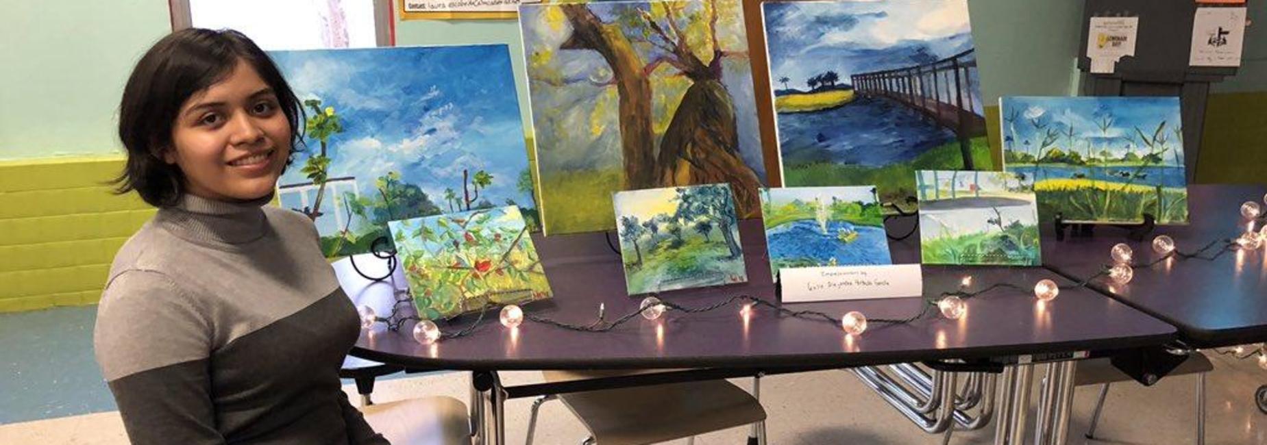 Lamar Student and her artwork