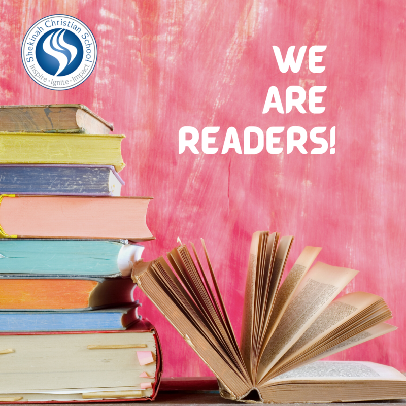 We Are Readers with books pictured