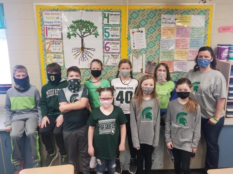 4th graders in shaffer strong or green shirts