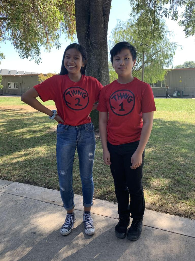 Two CCA students wearing shirts that say Thing 1 and Thing 2 for Twin Day.