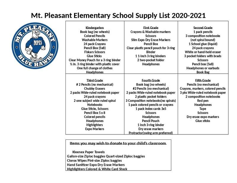 2020-2021 Student Supply List Thumbnail Image