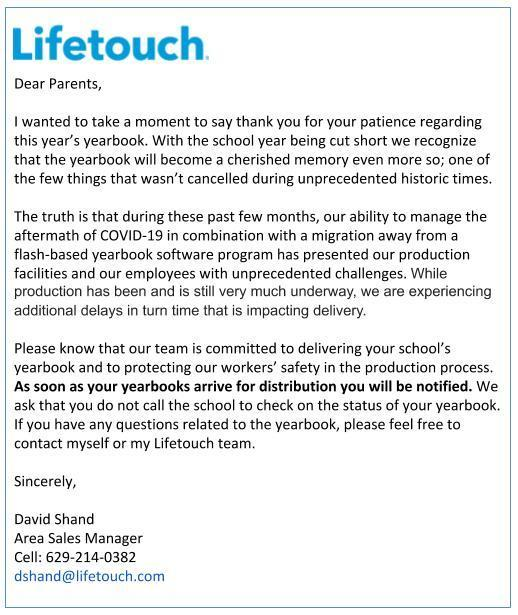 This is an update for SHS Yearbooks. Please read the attached letter from Lifetouch.