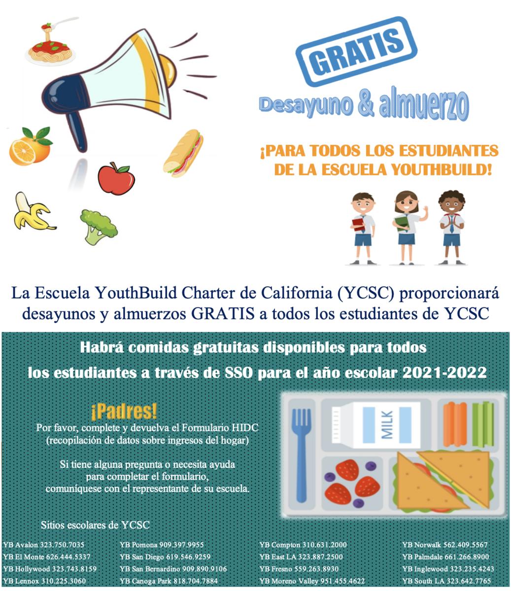 Spanish Language version of free meal flyer