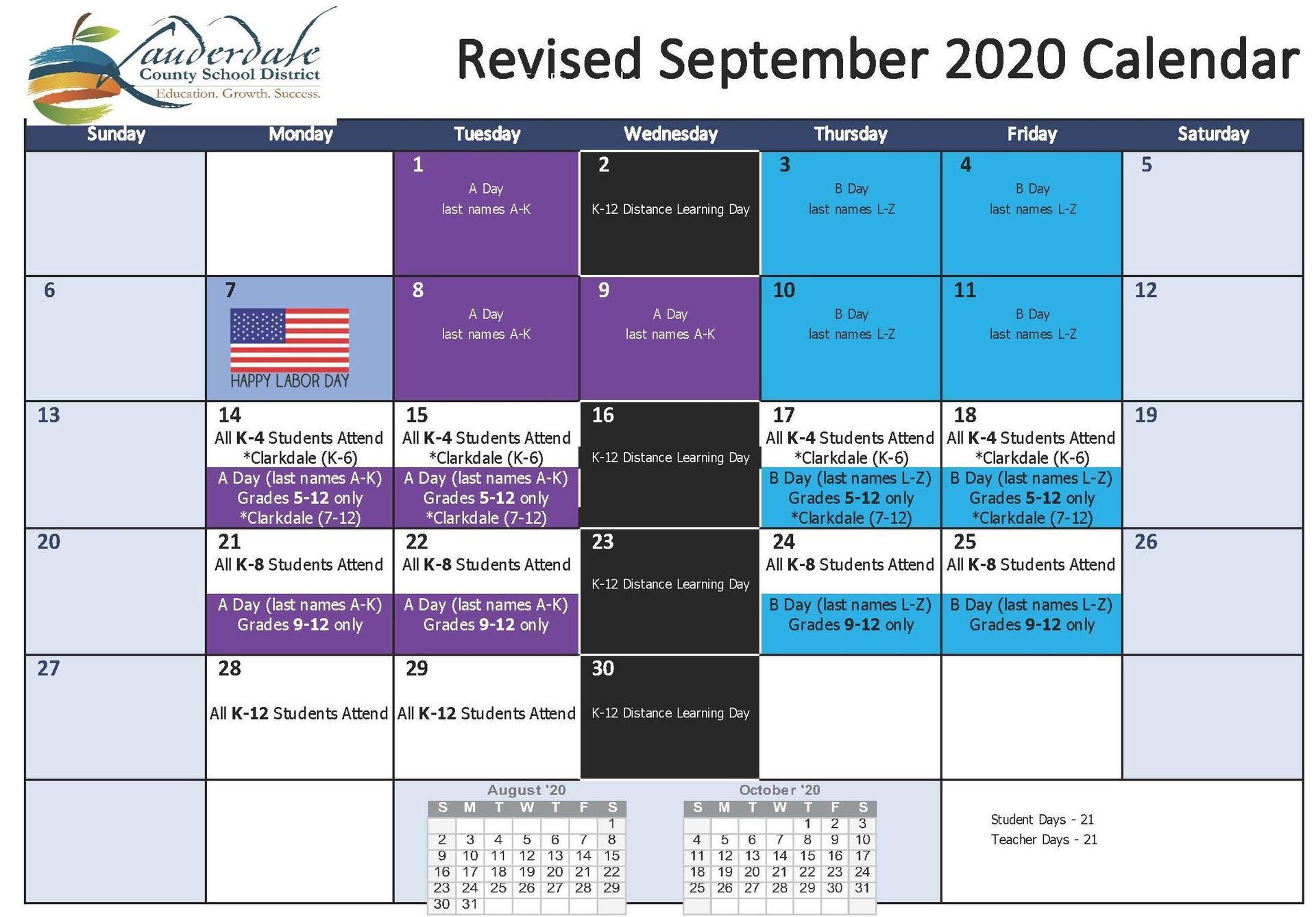 Revised September 2020 Calendar