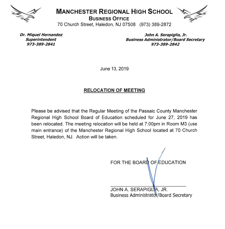 Relocation of BOE Mtg