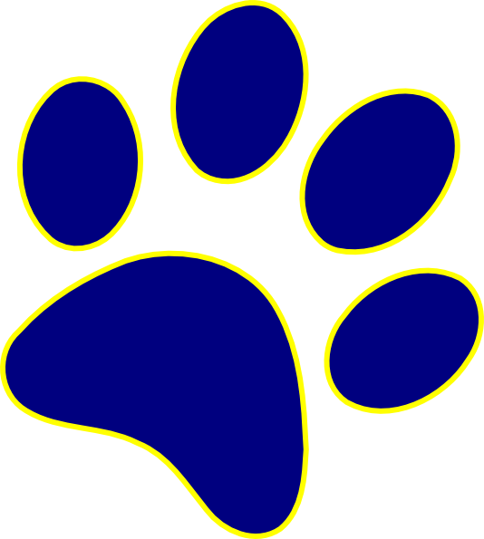 Blue Panther paw with yellow outline