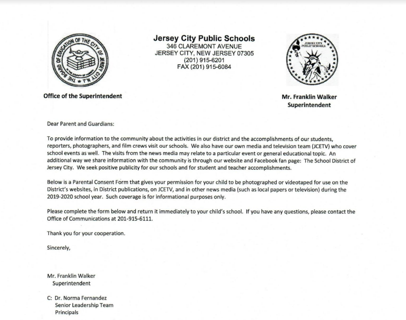 Jersey City Public Schools Photo Release Form