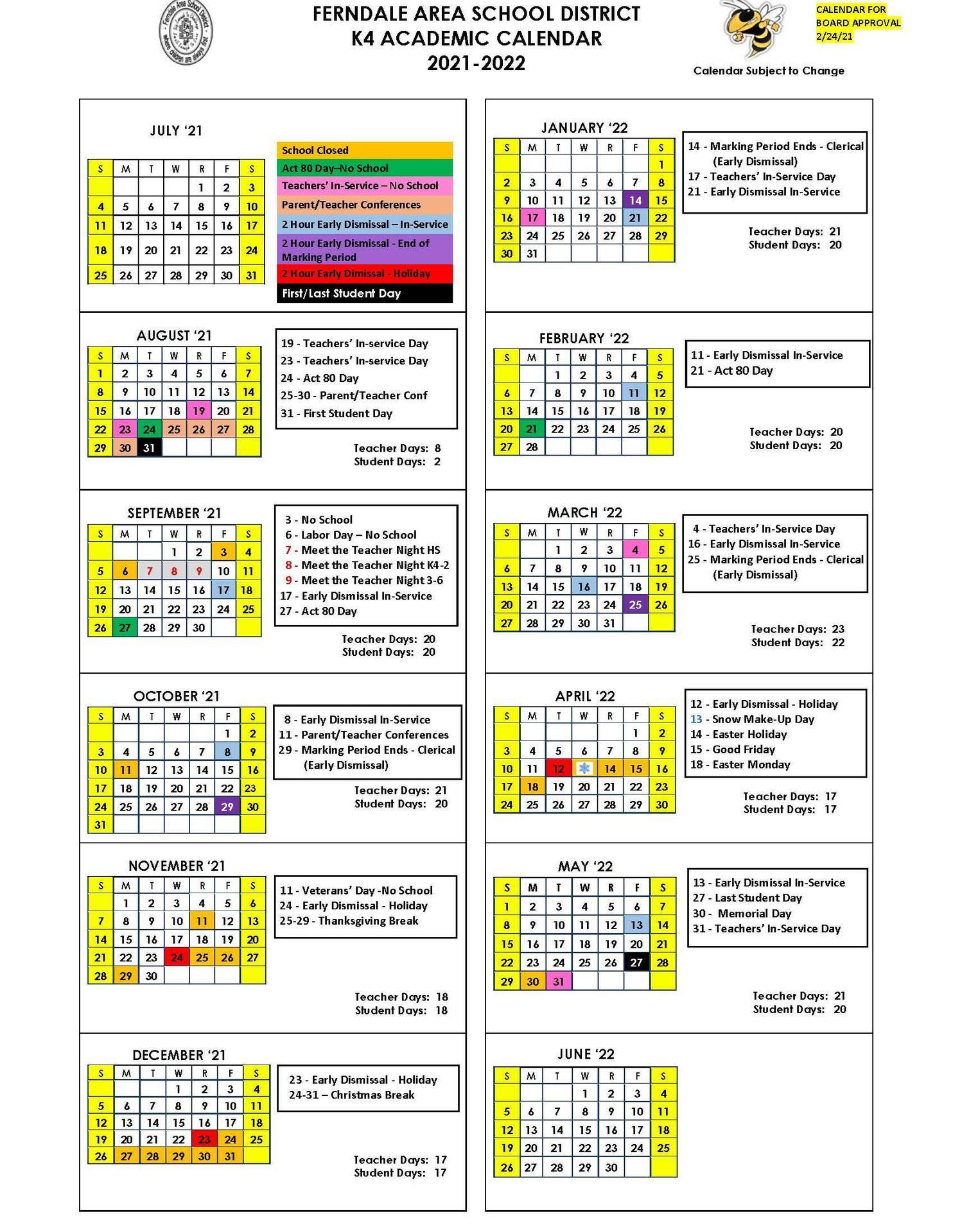 2021-2022 K4 Academic Calendar