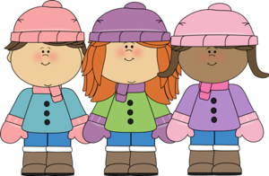 children wearing warm winter gear