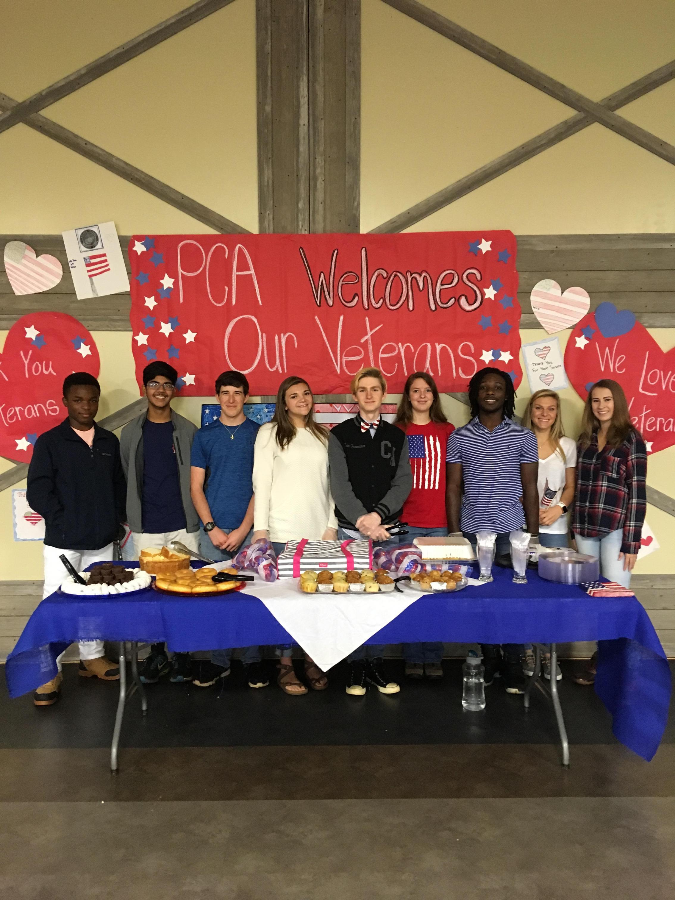 PCA Ambassadors serve veterans on Veteran's Day.