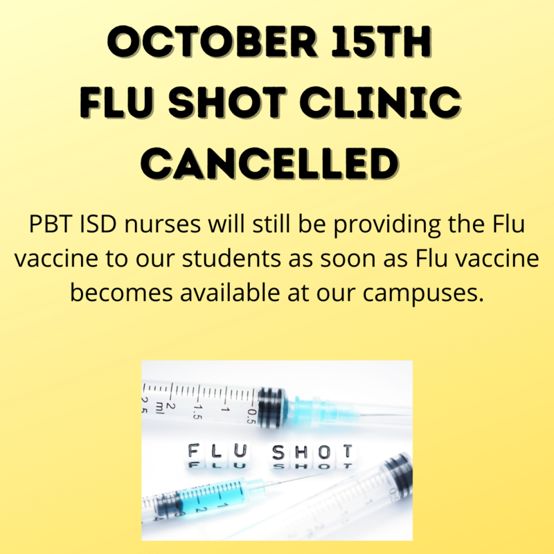 October 15th Flu Shot Clinic Cancelled