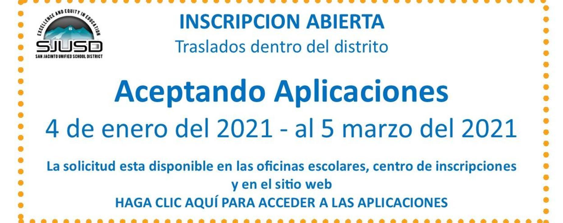 Open enrollment Intradistrict transfers Jan. 4 - Mar. 5, 2021