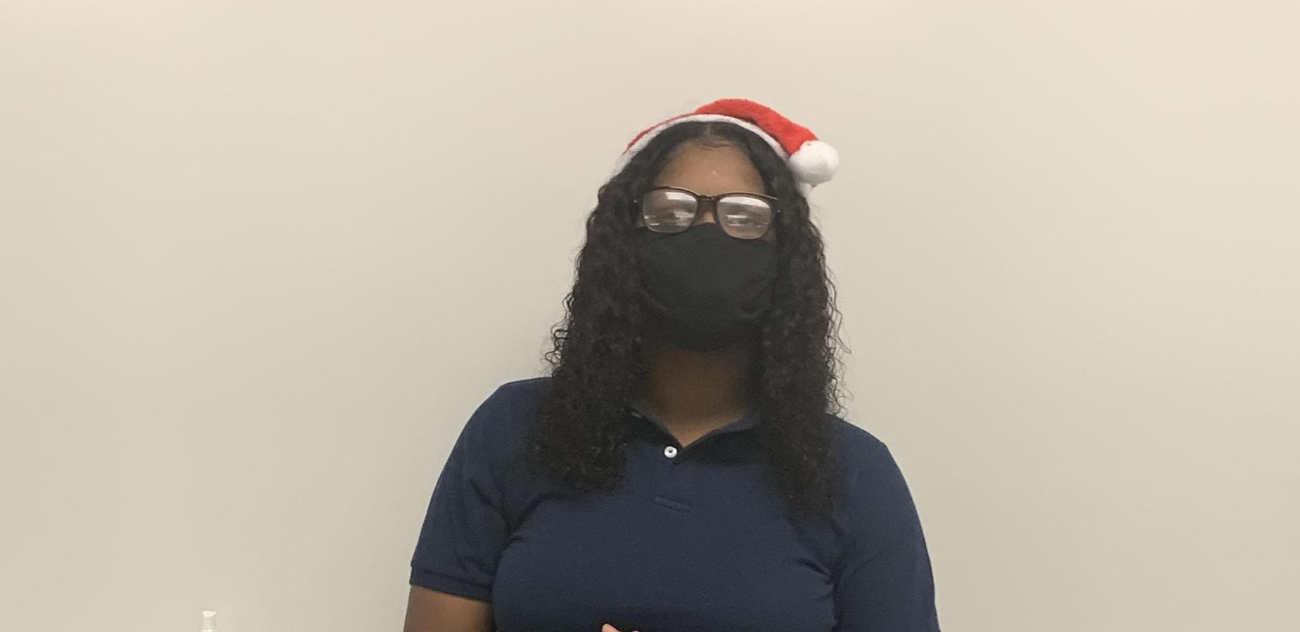 Student wearing Santa Hat!