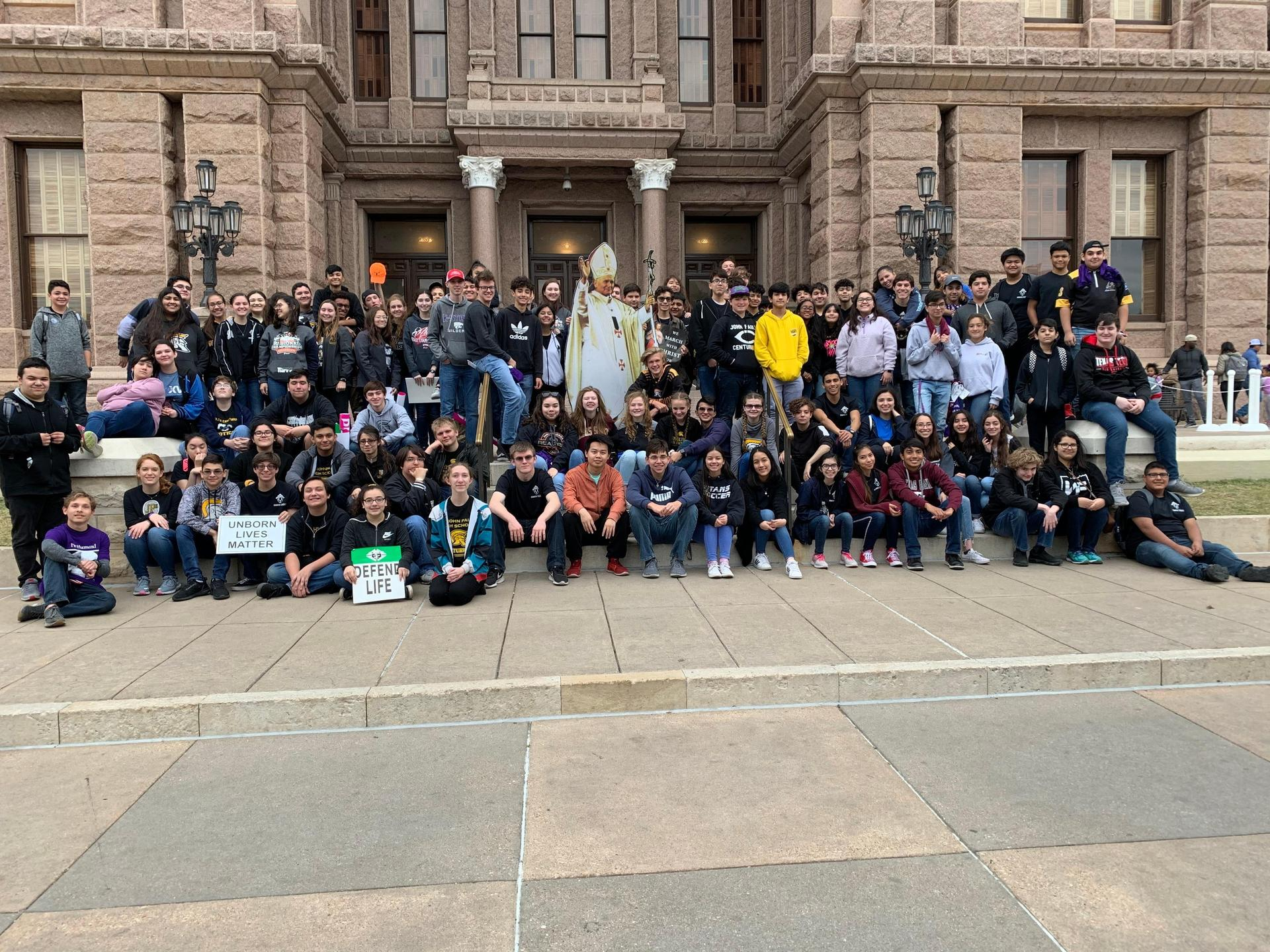 Students in Austin attending Texas Rally for Life