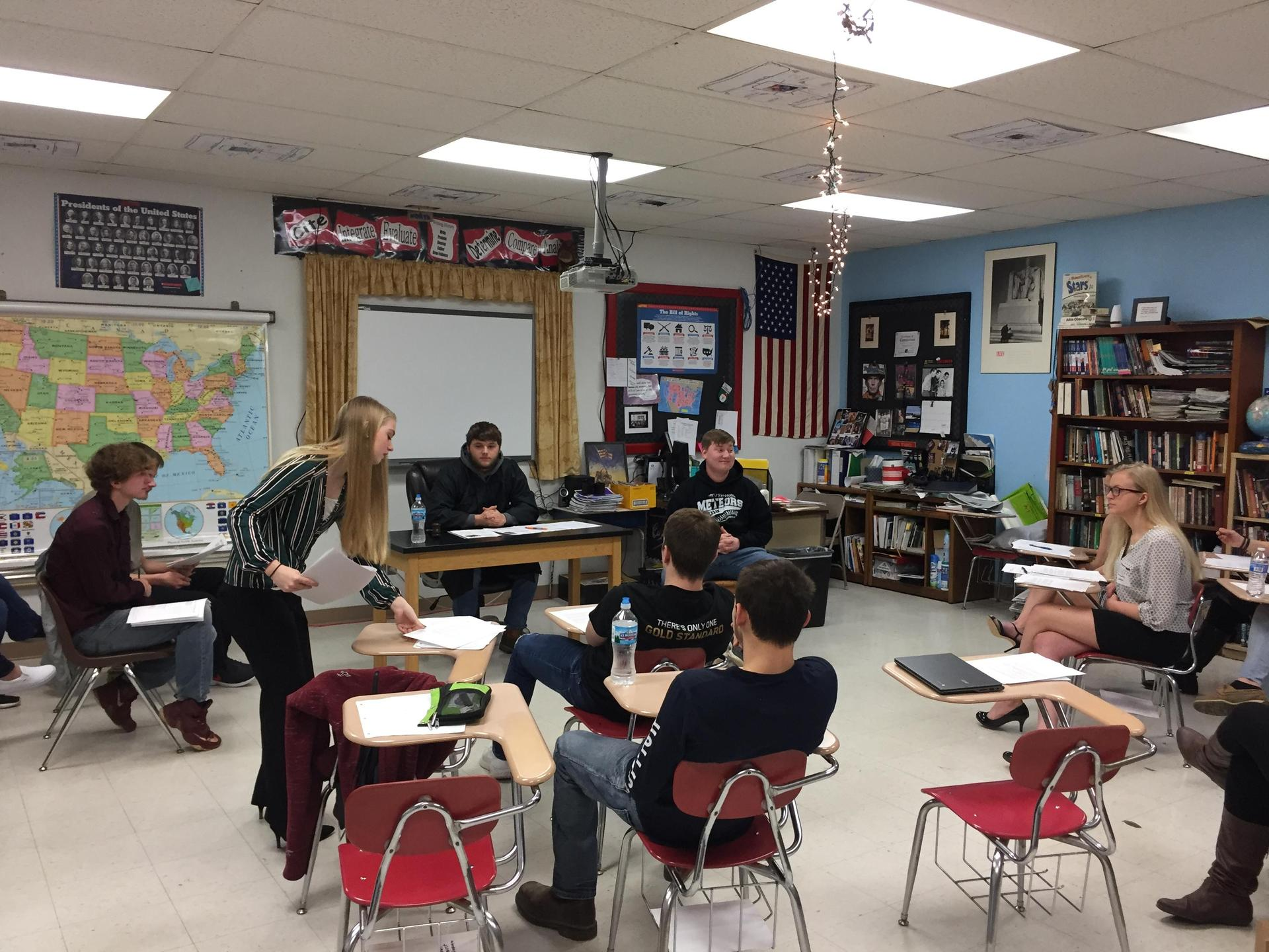 Seniors hold a mock trial