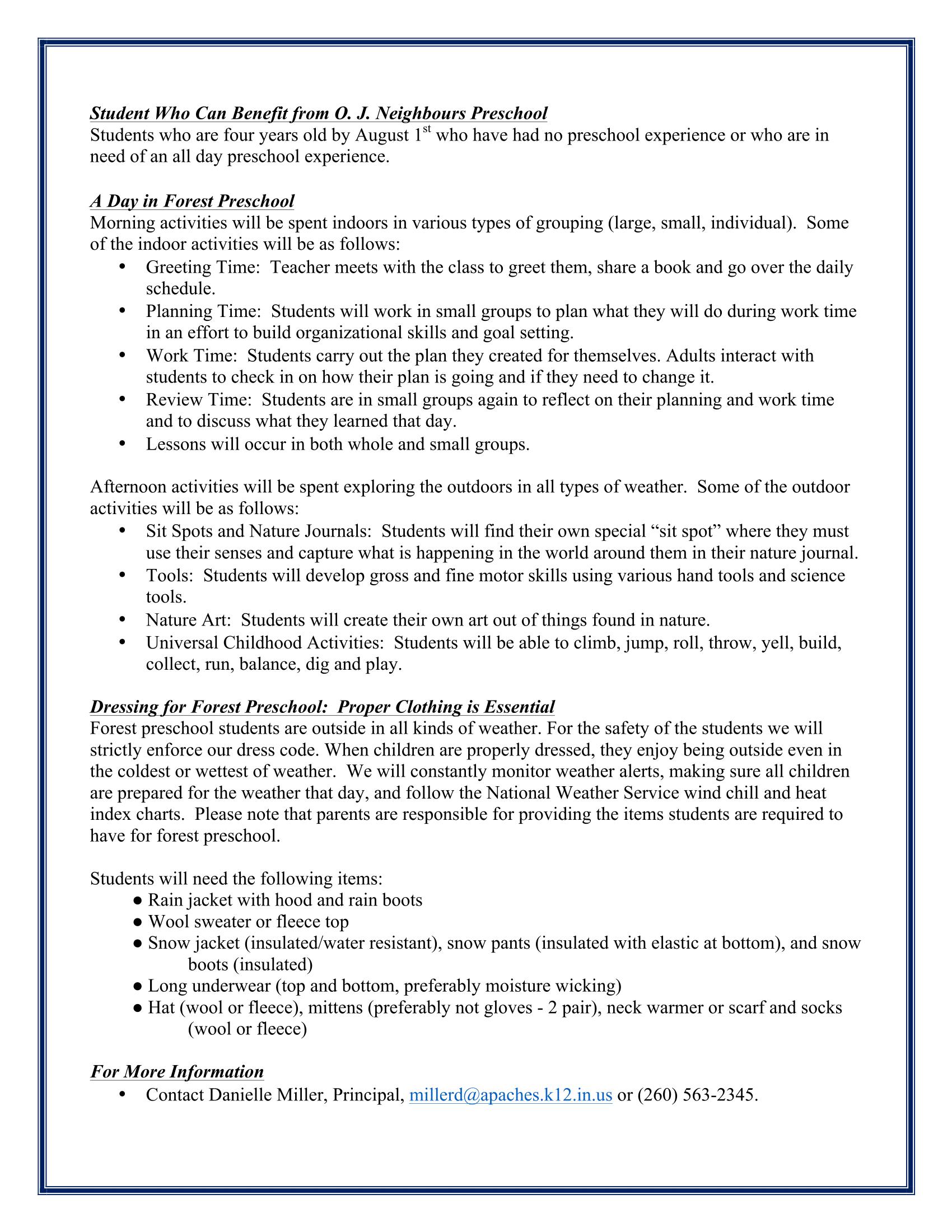Forest Preschool Information Page 2
