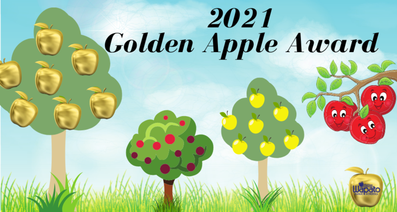 Graphic of apple trees, one with golden apples