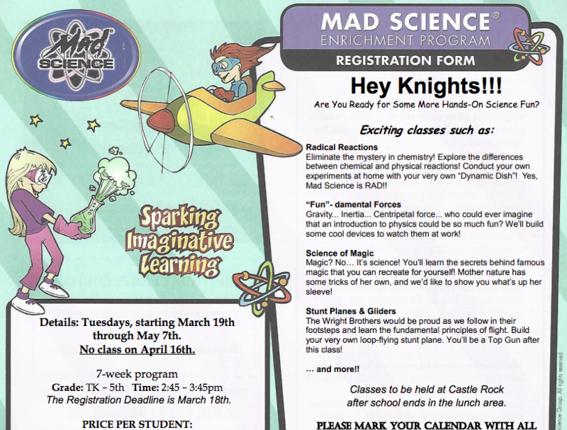 Mad Science Afterschool Information and Enrollment Form Featured Photo