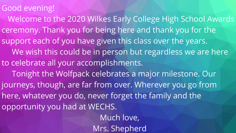 Wilkes Early College High School Grad 2020 Awards Thumbnail Image