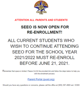 Reminder for students to re-enroll