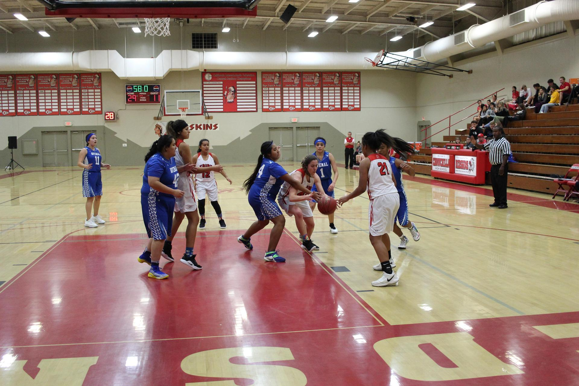 Girls playing basketball against Avenal