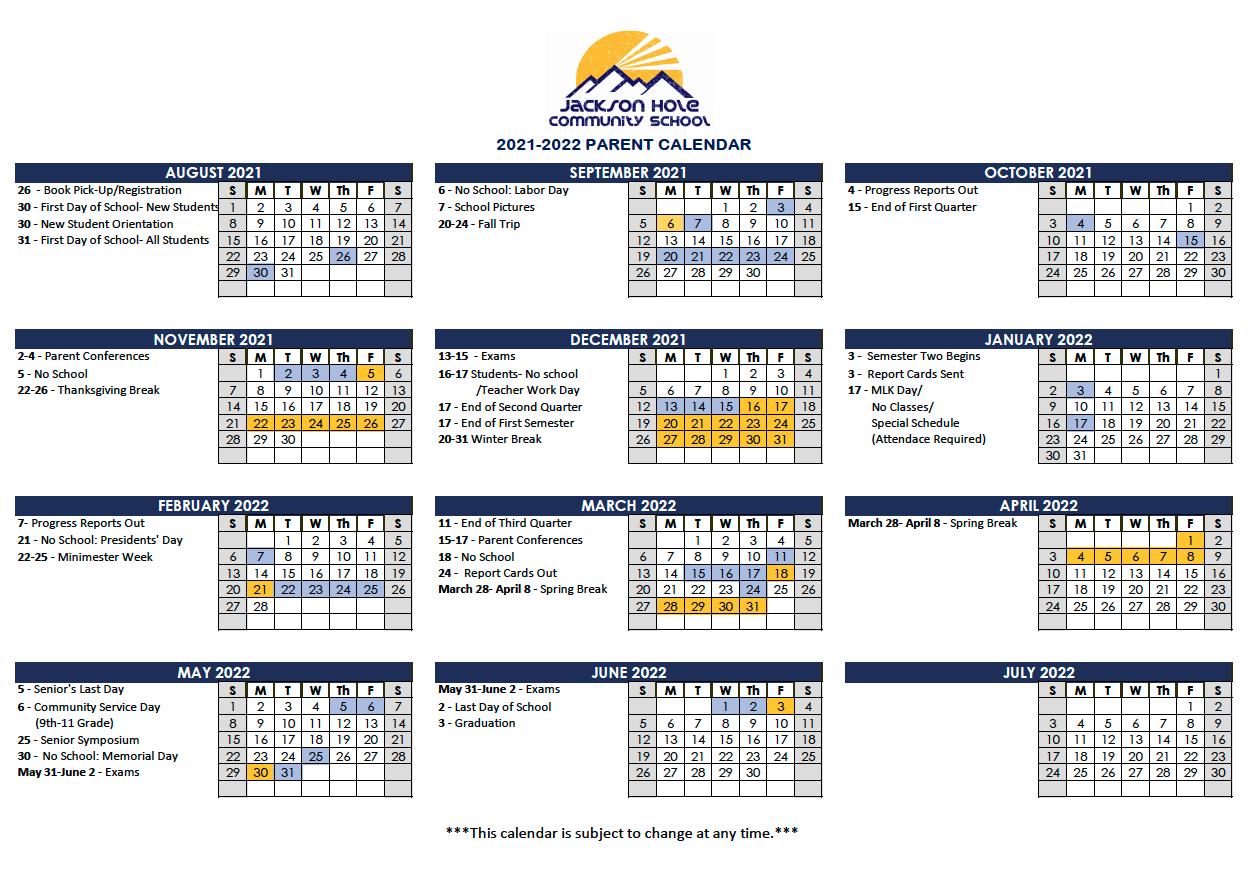 JHCS Parent Calendar 2021-2022