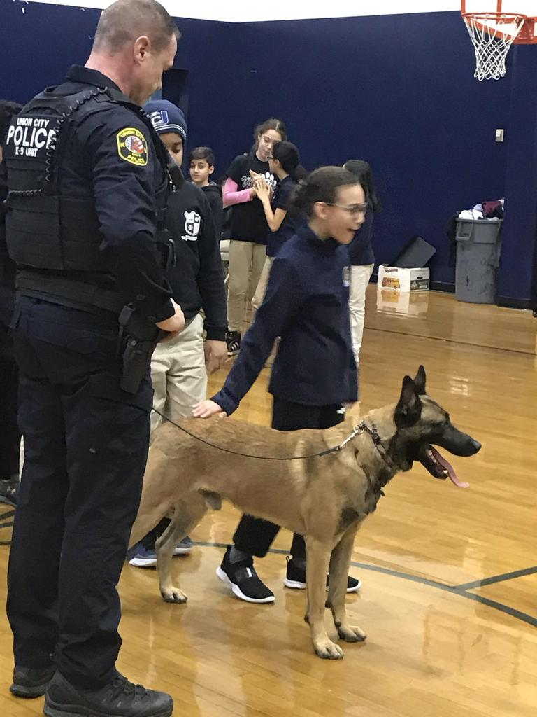 gril line ups to take hold of police dog.