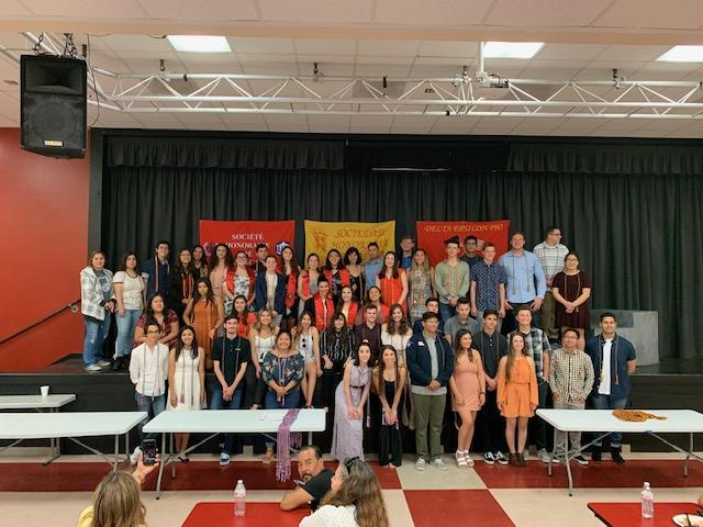 Members of the World Language Honors Societies were awarded their gold cords to wear at graduation at the Annual World Language Honors Banquet