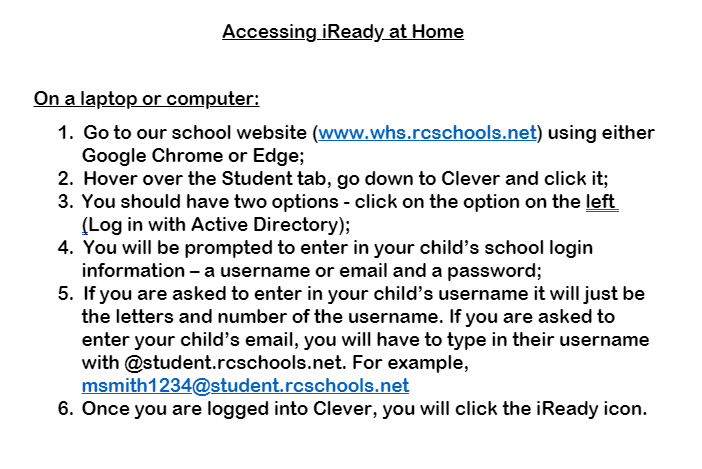 Accessing iReady at Home