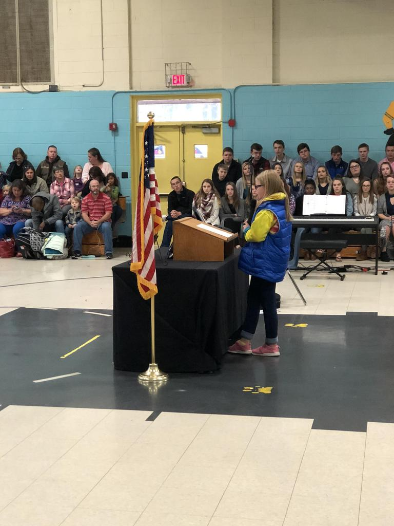 RCES student speaks at Veterans Day assembly