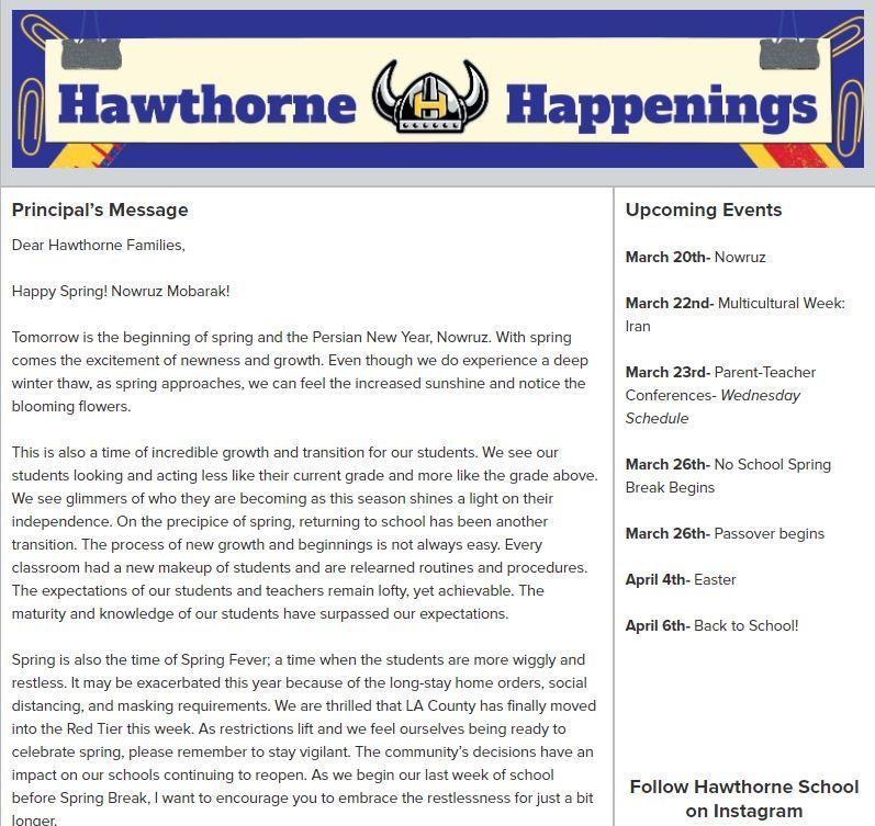 Hawthorne Newsletter 3.19.2021