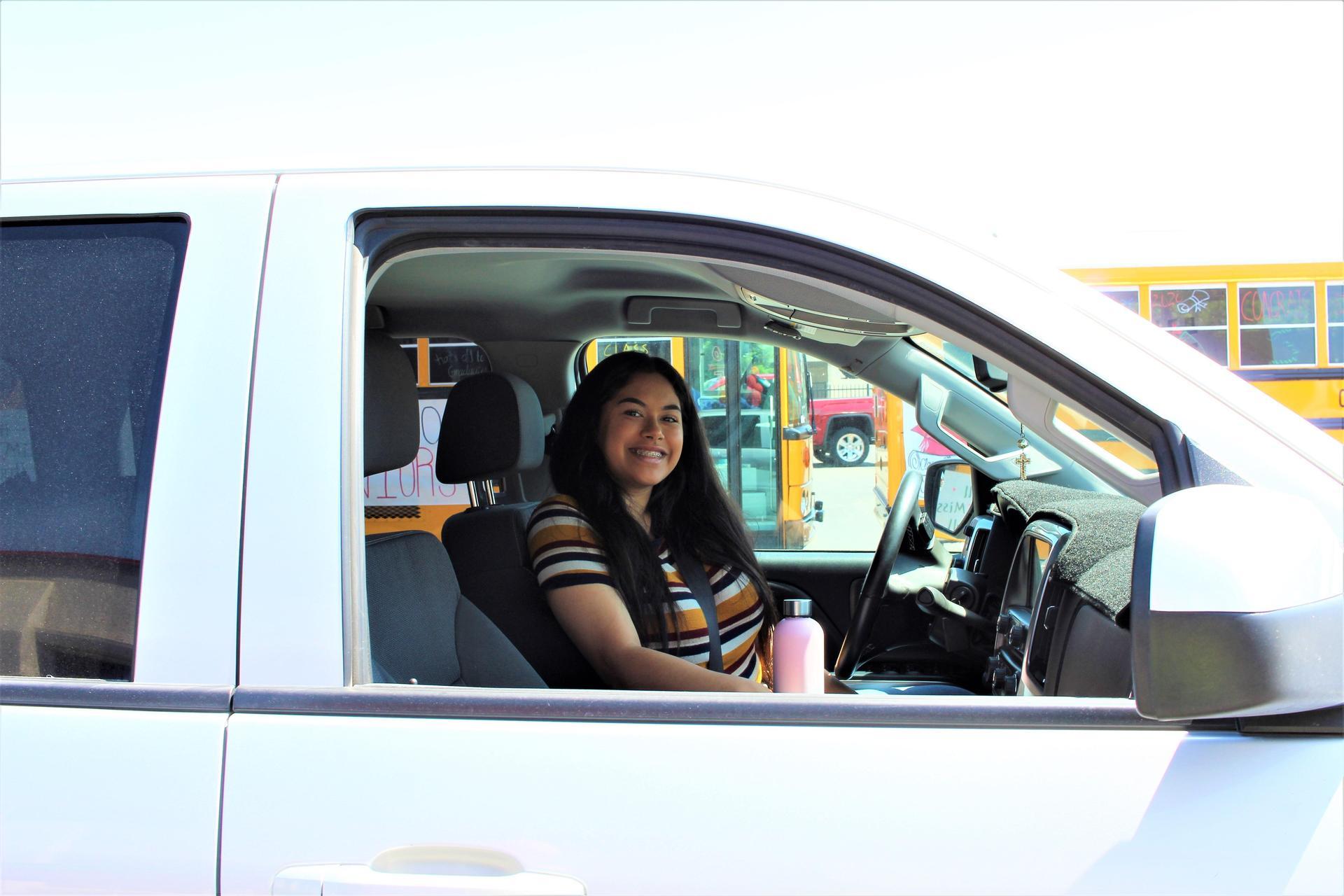 Christina Morales driving through