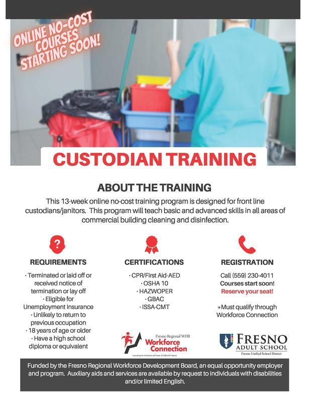 C.L.A.S.S. Custodian Training flier