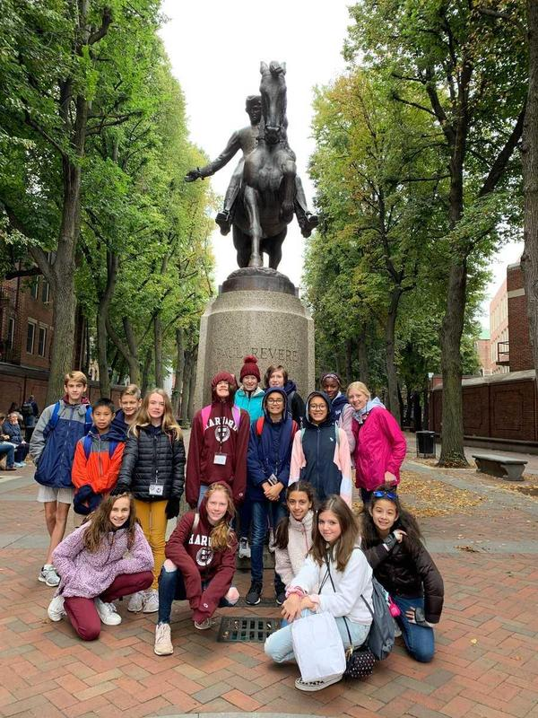 students in front of Paul Revere statue