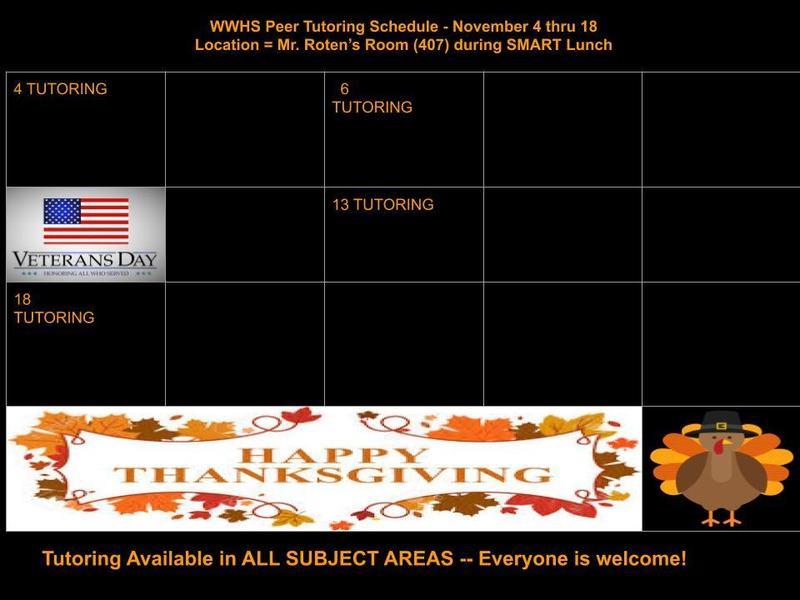 November Peer Tutoring Schedule Thumbnail Image