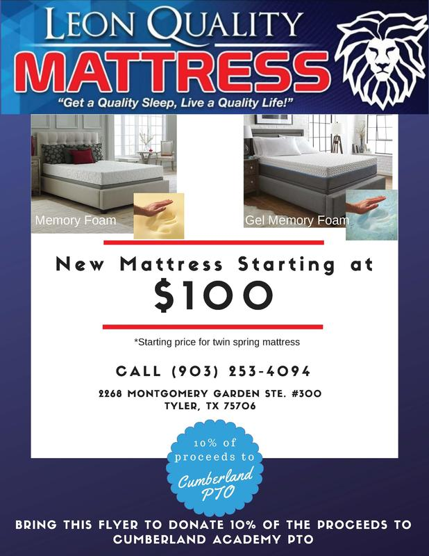 Cumberland PTO Fundraiser - Leon Quality Mattresses Featured Photo