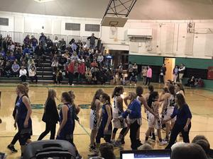 Picture of a girls basketball game
