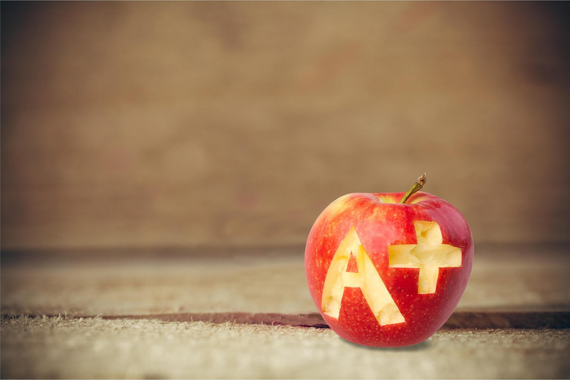Apple with grade letter A plus