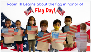 Students holding flag colorings