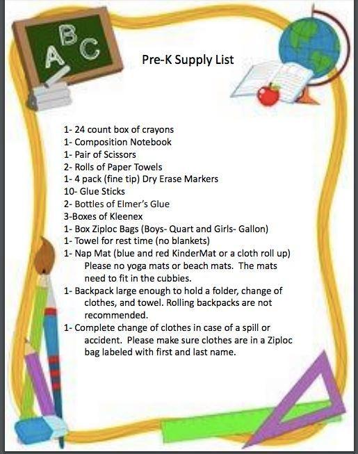 Pre-K supply list
