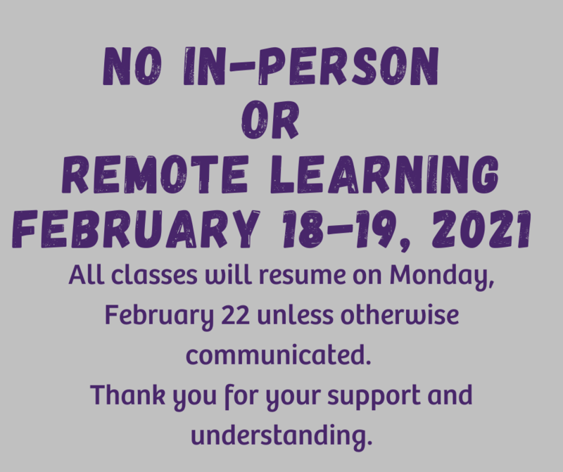 no in-person or remote learning february 18 and 19, 2021