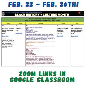 Image of calendar - check Google Classroom for details~