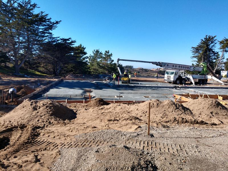 Concrete is being poured at the Marina High gym.