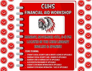 flyer for cuhs financial aid workshop